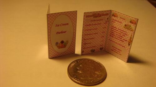 STORE MENUS Dollhouse  1:12 scale 2 Miniature ICECREAM PARLOUR
