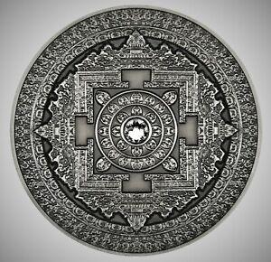 2015-FIJI-10-Silver-999-3oz-Antique-Finish-MANDALA-ART-First-coin-in-series