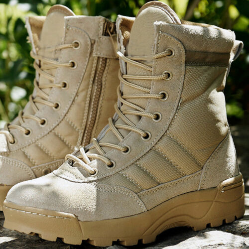 Men Canvas leather Shoes Military Tactical Army Battle Combat Boots warm outdoor