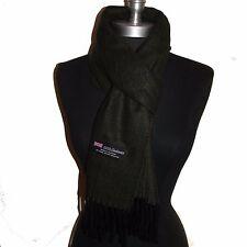 100% Cashmere Scarf Twill Plaid Wool Scarf Dark green/Black  Men/Women's #G4gtc