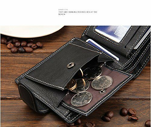 Baellerry Homme Luxe Cuir Souple Tri Fold Portefeuille Credit Carte Support