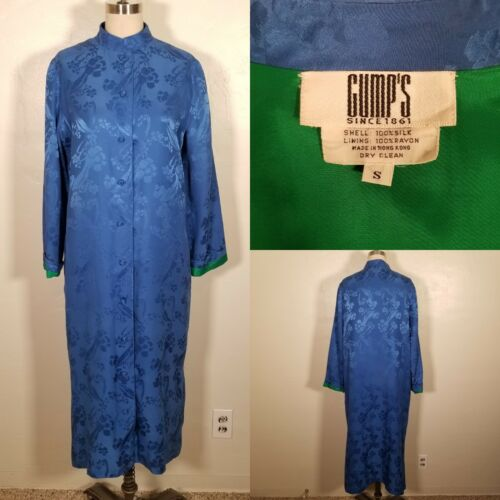 Vintage Small Silk Asian Gump's Blue Floral Robe P