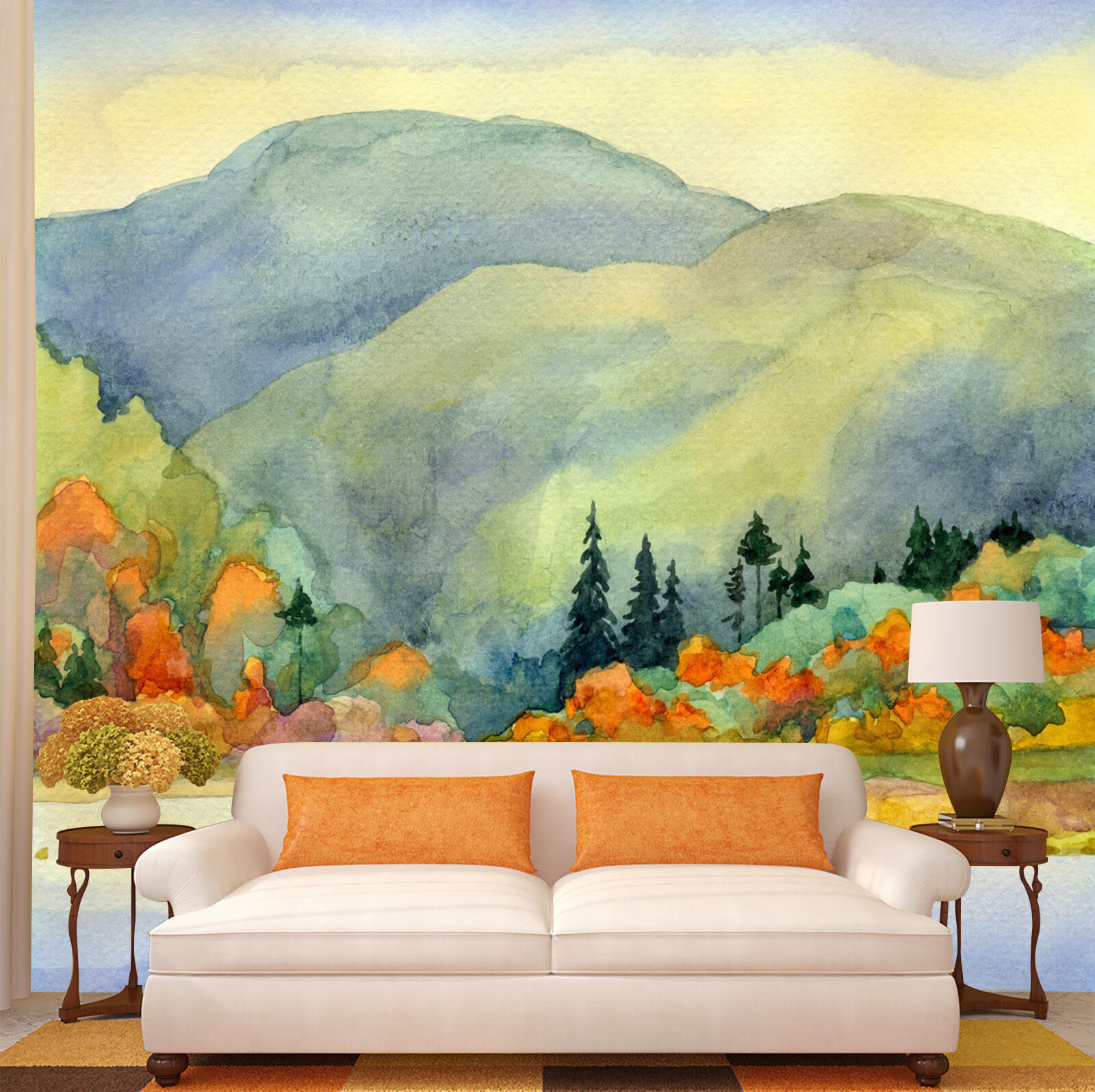 3D mountain peak trees paint wall Paper Print Decal Wall Deco Indoor wall Mural