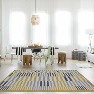 Jaune-Moutarde-A-Rayures-Beige-Geometrique-Tapis-Doux-Scandi-Easy-Living-Room-Tapis-NEUF