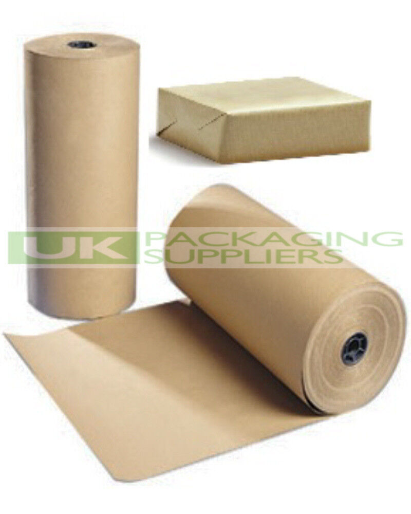 1 LARGE ROLL OF 88gsm PURE KRAFT BROWN WRAPPING PARCEL PAPER 900mm x 225 Metre