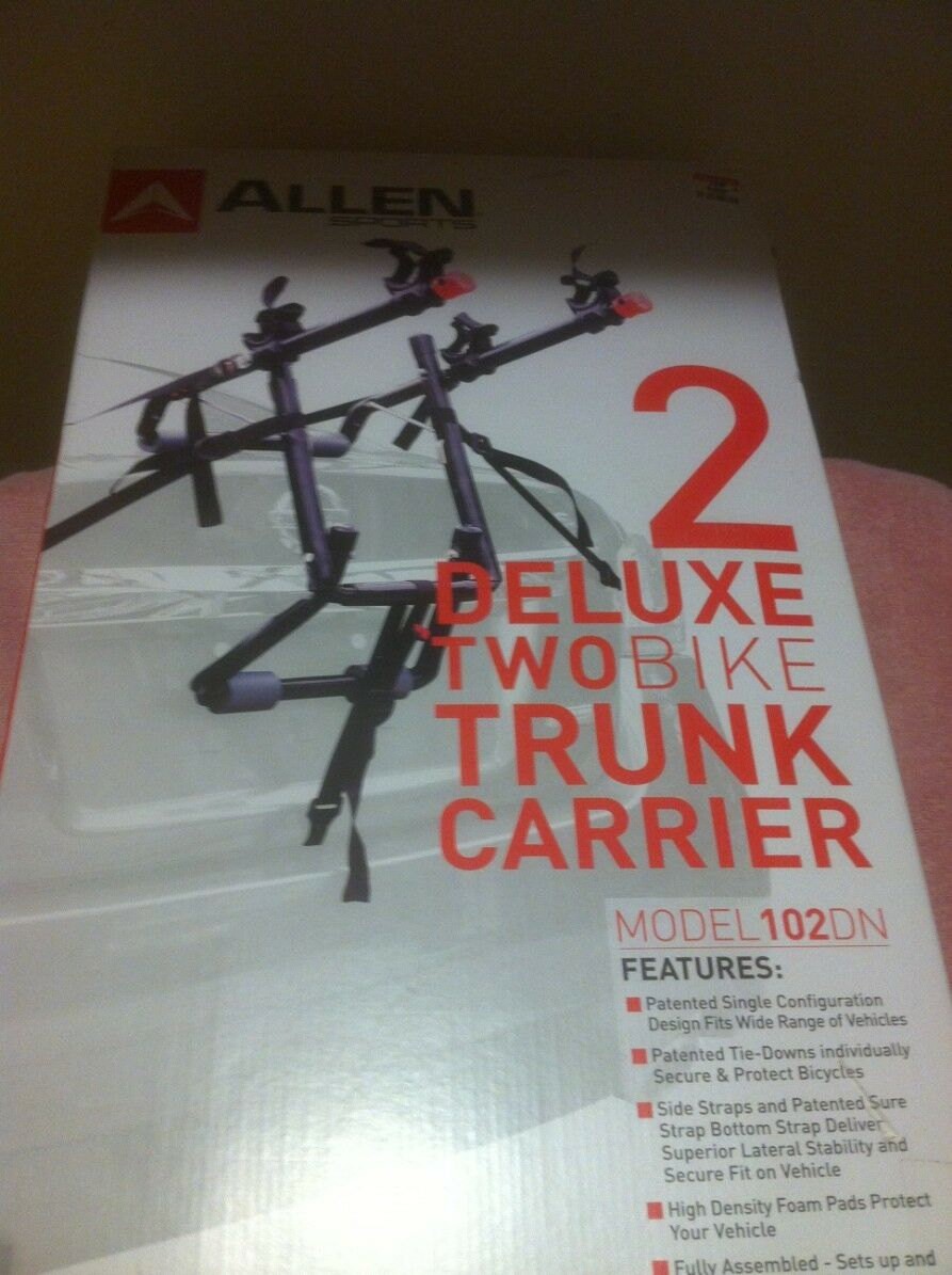ALLEN SPORTS--2 BIKE TRUNK CARRIER--MODEL 102DN---FREE SHIP--NEW