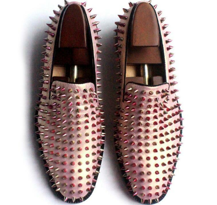 New Fashion Mens shoes Pink Spike Studded Slip On Leather Loafers Flats Size HOT