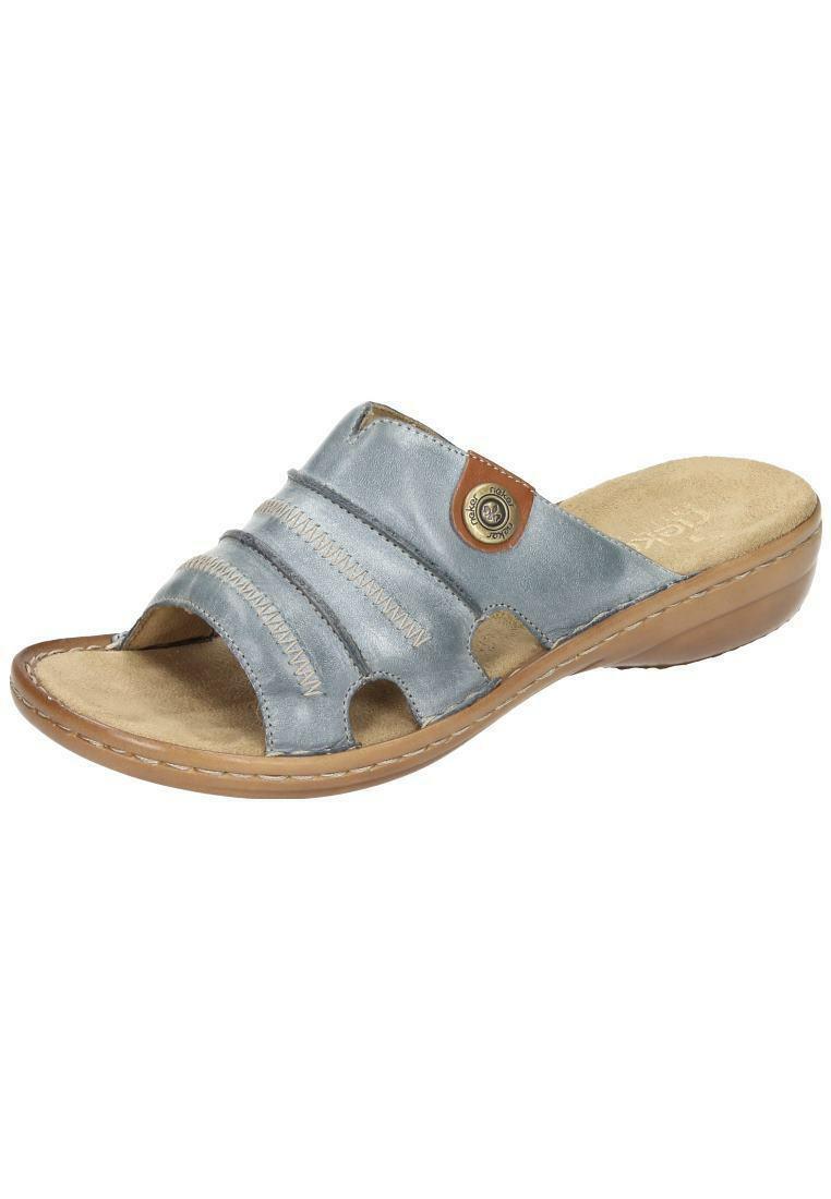 Rieker Pantoletten Leder Sandalen Schuhe Schlappen blau 36-42 60876-12 Neu4    Zart