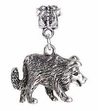 Border Collie Dog Breed Pet Puppy Animal Charm for Silver European Bead Bracelet