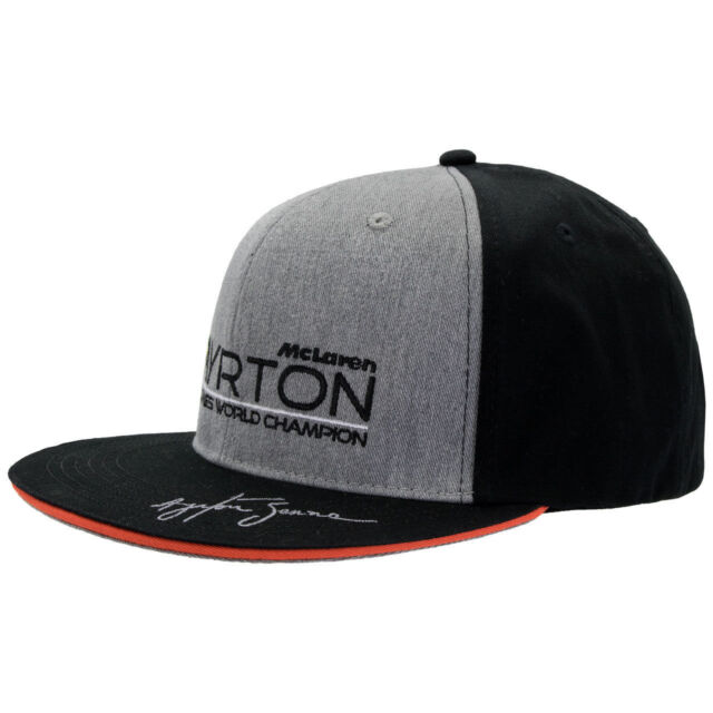 Buy Ayrton Senna Authentic Black Flat Brim Hat With Double S Logo ... b63993a549b