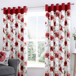 Fusion-ADRIANA-Red-Floral-100-Cotton-Eyelet-Curtains-amp-Matching-Cushions