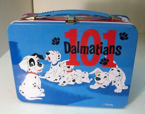 Disney-101-Dalmatians-Metal-Lunch-Box-Blue-Red-Tin
