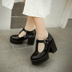 NEW-Sweet-Mary-Janes-Womens-Platform-Block-High-Heels-Oxfords-T-Strap-Goth-Shoes