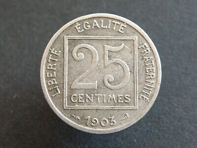 Circulated 1 Coin Only 1903 France 25 Centimes 19 Available