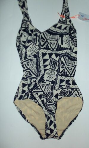 Ladies Navy and Cream Swimming Costume with Aztec design sizes 8,10,20