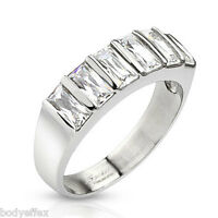 Hot Womens Stainless Steel Silver Six Emerald Cut Cz Anniversary Band Ring