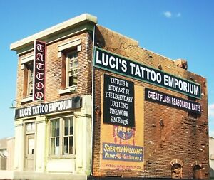 Downtown-Deco-N-Scale-Luci-039-s-Tattoo-Craftsman-Building-Kit-Great-Brick-Detail