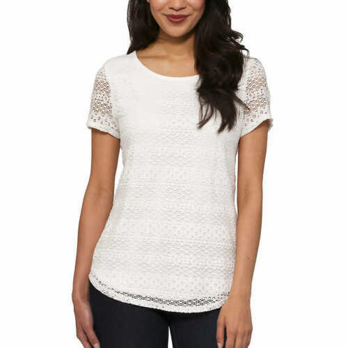 Leo and Nicole Ladies/' Lace Top Off-White US Size M NWOT