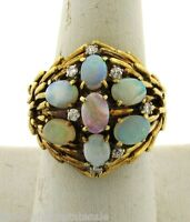 Exquisite Vintage Designer Fiery Opals Diamonds 14k Yellow Gold Ring
