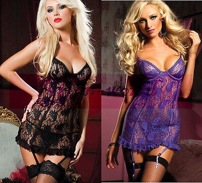 Women's Sexy Lingerie Lace Sheer Babydoll Dress Underwear Set Plus Size M/XL/3XL