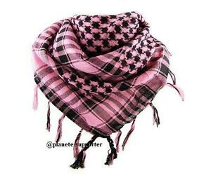 Image is loading KEFFIEH-ROSE-ET-NOIR-echarpe-foulard-palestinien-cheche- 74c95aed637