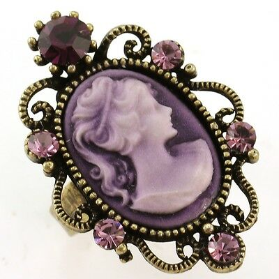Antique Gold Vintage Style CAMEO Ring Lady Purple Amethyst Stone Crystal Classic