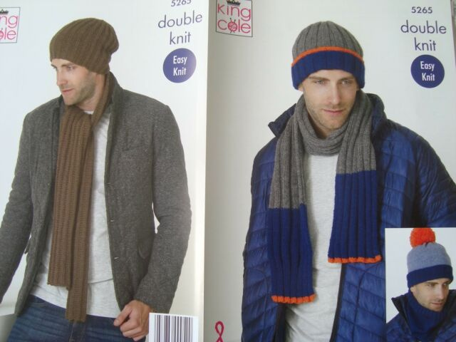 King Cole 5265 Knitting Pattern Mens Scarf Snood And Hats In Big
