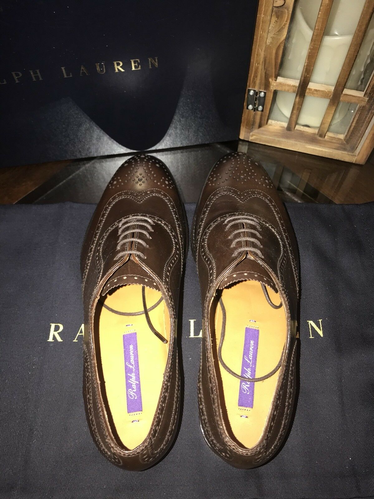 Ralph Lauren violet Label Label Label femmes Leather Wingtip Oxford chaussures 37.5M Made n  e8cd7b