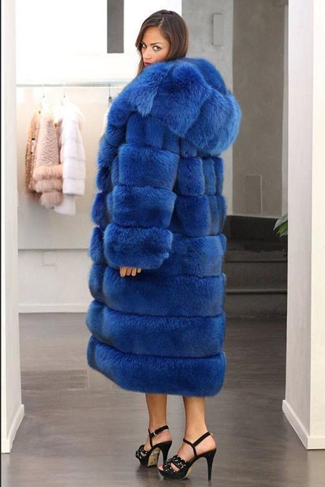 Womens Shaggy Hooded Faux Fur Coat Warm Parka Outwear Ladies Winter Long Coat