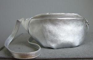 professionelles Design gutes Angebot bester Wert Details zu Bauchtasche Bauchbeutel Gürteltasche Tasche Silber Leder Cross  Body Bag Italy