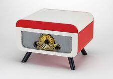 Steepletone RICO Retro Turntable VINYL Record CD Player Radio Red/White