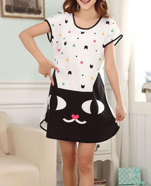 Cute Cat short nightgown, nightie, pyjamas. animal, kawaii. small 10-12 uk