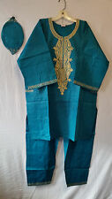 Men Clothing African Traditional Pant Suit Brocade Print H Green Free Size Pr#25