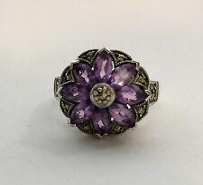Vintage Art Deco Sterling Silver Amethyst Marcasite Floral Ring Heirloom 73