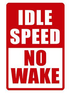 NO WAKE Sign Boat Marine Sign NO RUST ALUMINUM WEATHERPROOF SIGN full color