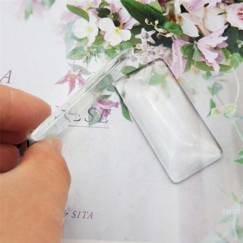 10 PCS Rectangle Transparent Glass Cameo Cabochon Demo Cover 50x25 mm//50x10 mm