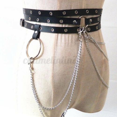 Women PU Leather Harness Belts Big O-ring Metal Waist Belt  Chain Buckle Strap