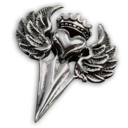 Anhänger Edelstahl Herz Flügel Krone Pfeilspitze claddagh liebe celtic silber