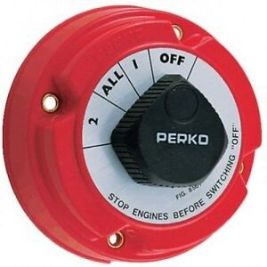 Perko-Dual-Battery-Selector-Switch-Fishing-Boat-RV-Semi-8501-1-2-On-Off-All-New