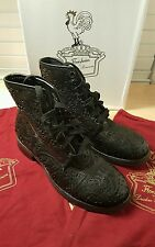 Florsheim by Duckie Brown Ludgate Boot Black Paisley Lace Laser Cut Sz 7 *NWB*