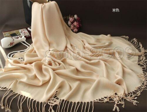 Nouveau femmes hiver 100/% Cachemire Pashmina Solide Tassel Châle Wrap Écharpe écharpes