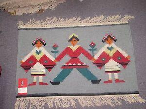 NWT NEW Russian Folk Art Kilim Hand Knotted Wool Tapestry 2'-7 x 1'-7 Light Blue