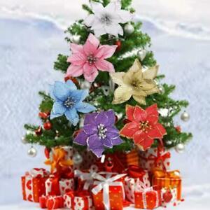 9pcs-Natale-Grande-Poinsettia-Fiore-Glitter-Albero-Da-Appendere-Festa-decoratio-H4L9
