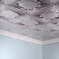 Fasade Art Deco Brushed Aluminum 2 Ft. X 4 Ft. Glue-up Ceiling Tile