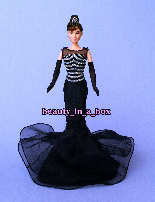 Vestido de Baile Audrey Hepburn en Sirena Negro Plata Reparación Muñeca Barbie Sin Caja uno de una clase