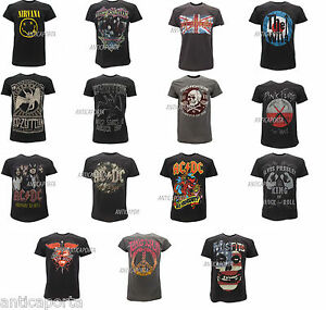 T-Shirt-Originali-Rock-Maglie-Magliette-Led-Zeppelin-AC-DC-Foo-Fighters-Nirvana