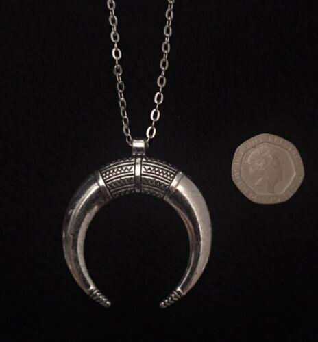 """Gran cuerno de Luna Collar de plata de cadena larga de 30/"""" Reino Unido Indio Nativo Americano inusual"""