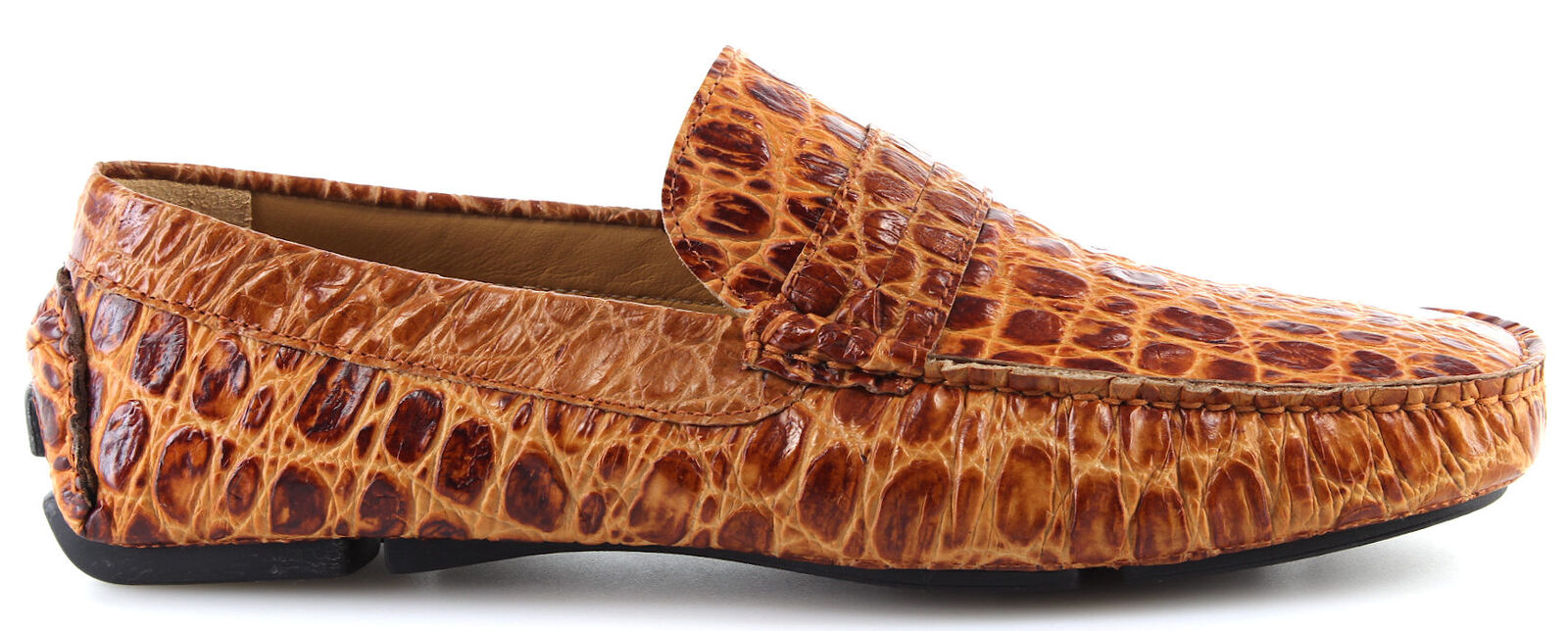 Men's shoes Moccasins Loafers ROMEO GIGLI MILANO 90142 Cocco Cognac Leather New