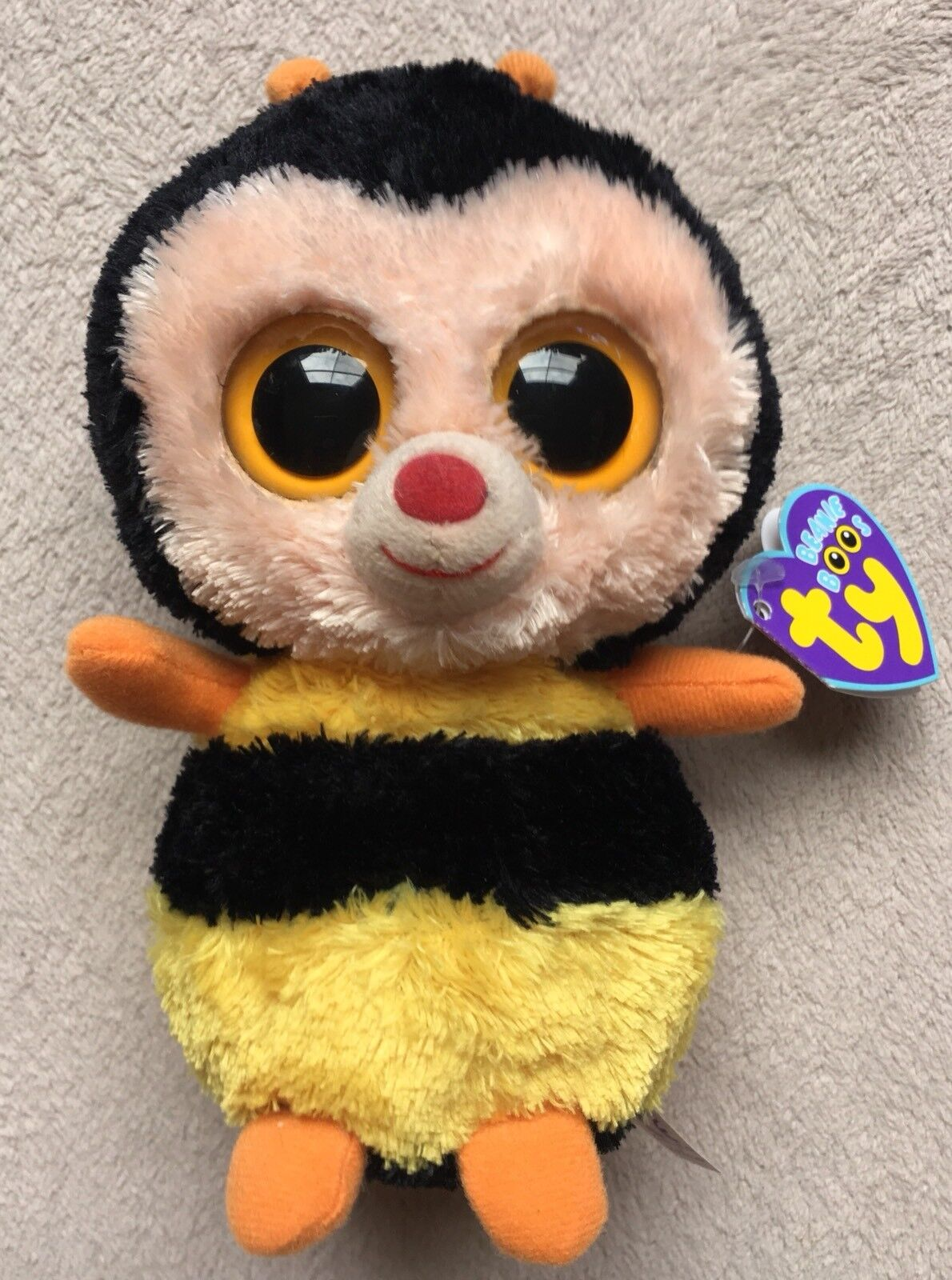 Ty Beanie Boo Sting Bumblerbee, 2013, Clear Eyes, bluee Tag, Rare & Retired, New