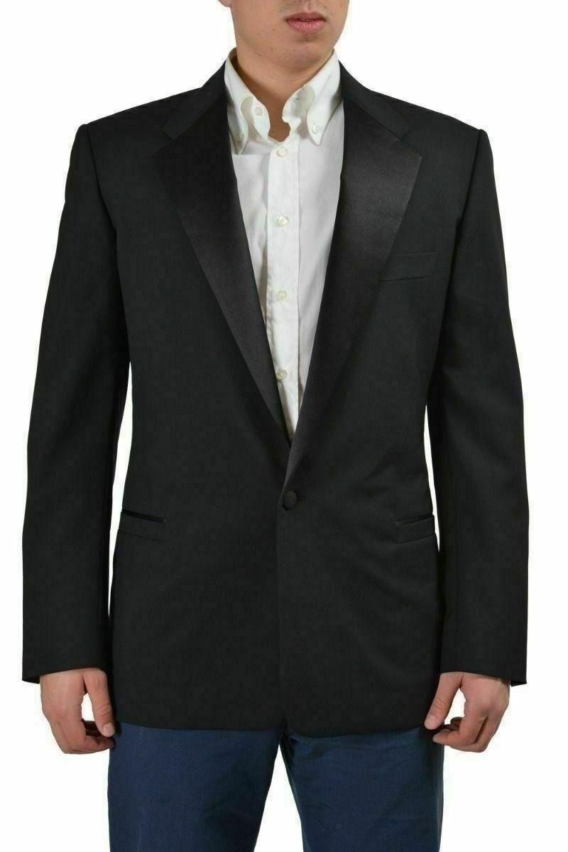 Versace 100% Laine black Tailor Made un Bouton Smoking Style Blazer Us 40 It